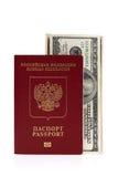 Passaporto di Federazione Russa e dei dollari US Immagini Stock Libere da Diritti