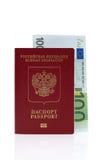 Passaporto di Federazione Russa e dell'euro Immagine Stock Libera da Diritti