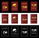 Passaporto differente di marrone rossiccio di vettore quattro con il globo Immagine Stock Libera da Diritti