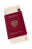 Passaporto e biglietto ferroviario Immagine Stock