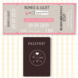 Passaporto e carte broading dell'invito di nozze di progettazione del passaggio Ilu Immagini Stock