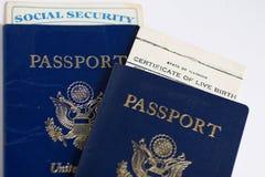 Passaporto e documenti di viaggio degli Stati Uniti Immagini Stock Libere da Diritti