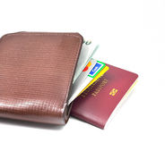 Passaporto e raccoglitore Fotografie Stock Libere da Diritti