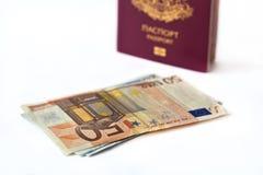 Passaporto e soldi Fotografia Stock Libera da Diritti