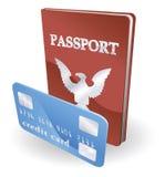 Passaporto ed illustrazione della carta di credito Fotografia Stock Libera da Diritti
