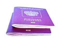 Passaporto straniero due su un fondo bianco Fotografia Stock Libera da Diritti