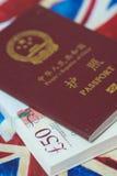Passaporto sulla bandiera di Britsh Fotografia Stock Libera da Diritti