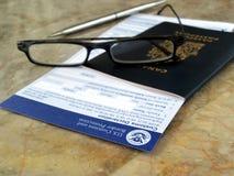 Passaporto sulle abitudini degli Stati Uniti e sul modulo del bordo Immagine Stock Libera da Diritti