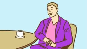 Passar den unga mannen för tecknade filmen i lilor dricka kaffe eller te i restaurang Fotografering för Bildbyråer