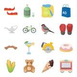 Passatempo, turismo, negócio e o outro ícone da Web no estilo dos desenhos animados chifre, guloseima, ícones do carro na coleção Imagens de Stock