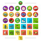 Passatempos, turismo, curso e o outro ícone da Web no estilo dos desenhos animados Atributos, transporte, esportes, ícones na col ilustração royalty free