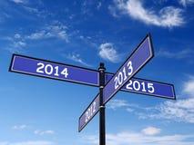Passato e nuovo anno Roadsign Fotografia Stock
