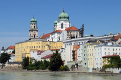Passau. Is a town in Lower Bavaria known also as the Dreifl�ssestadt (City of Three Rivers), because the Danube is joined there by the Inn and the Ilz stock image