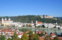 Passau in bavaria. On river danube stock images