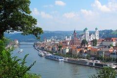 Passau in Bavaria. View on Passau, The City of Three Rivers, Bavaria, Germany royalty free stock photo