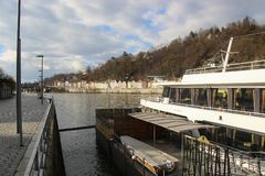 Passau, Bavaria, Germany: Excursion ships on the pier of the Danube river royalty free stock photography