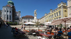 Passau. A city in Lower Bavaria, Germany, is also known as the City of Three Rivers, because the Danube is joined at  by the Inn from the south and the Ilz stock photography