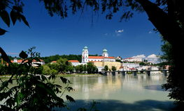 Passau. A city in Lower Bavaria, Germany, is also known as the City of Three Rivers, because the Danube is joined at  by the Inn from the south and the Ilz royalty free stock photos