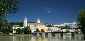 Passau. A city in Lower Bavaria, Germany, is also known as the City of Three Rivers, because the Danube is joined at  by the Inn from the south (the picture stock photos