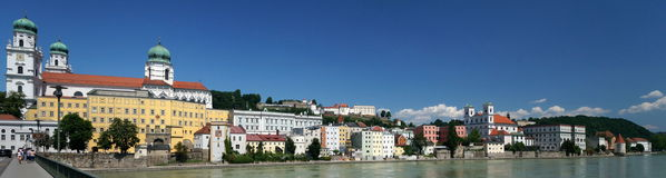 Passau. A city in Lower Bavaria, Germany, is also known as the City of Three Rivers, because the Danube is joined at  by the Inn from the south and the Ilz stock image