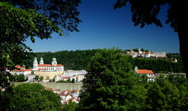 Passau. A city in Lower Bavaria, Germany, is also known as the City of Three Rivers, because the Danube is joined at  by the Inn from the south and the Ilz stock photos
