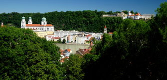Passau. A city in Lower Bavaria, Germany, is also known as the City of Three Rivers, because the Danube is joined at  by the Inn from the south and the Ilz royalty free stock images