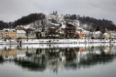 Passau Germany. Historical town Passau and Danube (Donau in German) River in Germany in snow royalty free stock photos