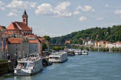 Passau, Germany. Riverside Danube and harbor cruise in Passau, Germany Stock Photos