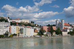 Passau, Germany. Riverside Inn and historic center of Passau ,Bavaria, Germany royalty free stock photo