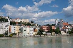Passau, Germany. Riverside Inn and historic center of Passau ,Bavaria, Germany Royalty Free Stock Photo