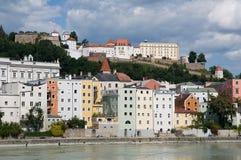 Passau, Germany. Riverside Inn and historic center of Passau ,Bavaria, Germany stock images