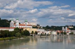 Passau, Germany. Riverside Inn and historic center of Passau with Dom St. Stephan, Germany royalty free stock images