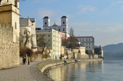 Passau Germany Promenade Early Morning. This was taken in Passau, Germany.  The promenade in on the Inn River leading in to the Danube, just down river from this Royalty Free Stock Image