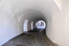 Passau (Germany) Steinweg. White tunnel on the  cobbled Steinweg road, Passau (Germany Royalty Free Stock Image