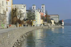 Passau, Inn Promenade. Passau, Bavaria, South-Germany. Also called the City of Three Rivers: Inn, Danube and Ilz. This photo shows the city from the river Inn stock photo