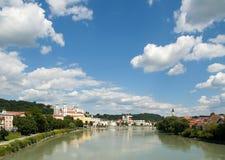 Passau, Inn Promenade. Passau, Bavaria, South-Germany. Also called the City of Three Rivers: Inn, Danube and Ilz stock photos