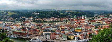 Passau Panoramamic view of the three rivers City. Passau located in Bavaria, Germany, called the City of the three Rivers, Ilz, Inn and Danube stock photo