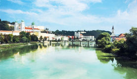 Passau, Lower Bavaria, Germany, illustration with colored pencil Stock Photography