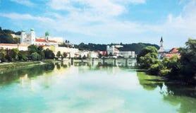 Passau, mais baixo Baviera, Alemanha, ilustração com lápis colorido Fotografia de Stock
