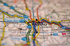 Passau on map. Close up shot of Passau Germany on a map Royalty Free Stock Photos