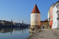 Passau Promenade Tower at Sunrise Tom Wurl stock image