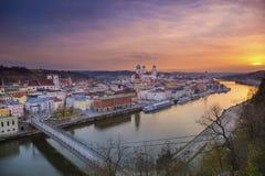 Passau. Passau skyline during sunset, Bavaria, Germany royalty free stock photo