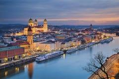 Passau. Passau skyline during twilight blue hour, Bavaria, Germany royalty free stock photography