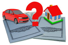 Passbooks, car and home Stock Images