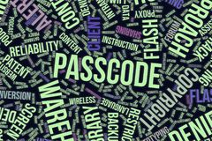 Passcode, conceptual word cloud for business, information technology or IT. Passcode, IT, information technology conceptual word cloud for for design wallpaper Stock Image