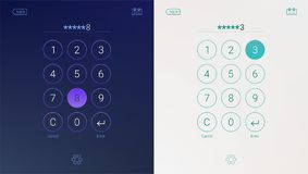 Passcode interface for lock screen, login or enter password pages. Digital numpad app, user interface kit, mobile. Interface. Concept of UI design, light and Stock Images