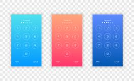 Passcode interface for lock screen, login or enter password pages. Vector phone ID recognition screenlock password or lockscreen p. Asscode numbers display Royalty Free Stock Photos