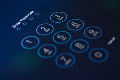 Passcode. Protection close-up numpad click Stock Image