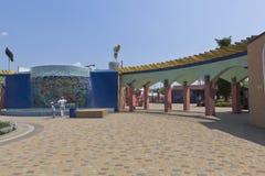 Passe à bilheteira do ` de Tiki-Tak do ` do parque da água na vila de Dzhemete, Anapa Fotos de Stock Royalty Free