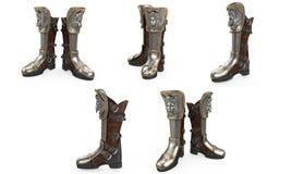 Passe a armadura alta do cavaleiro das botas da fantasia isolada no fundo branco ilustração 3D imagem de stock royalty free
